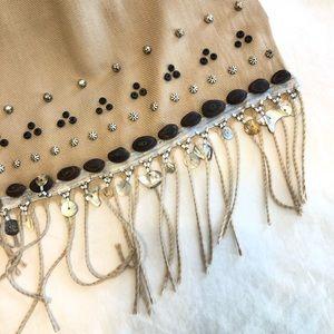 Bohemian hippie cashmere tan camel color scarf